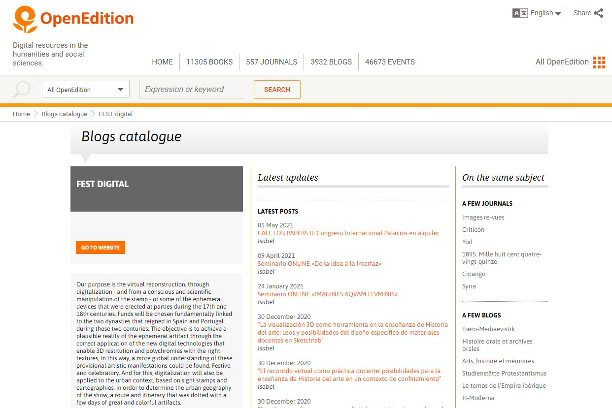 (05-05-2021). FEST-digital blog, forma parte del catálogo de OpenEdition.   FEST-digital blog, has been included on the catalogue of OpenEdition.